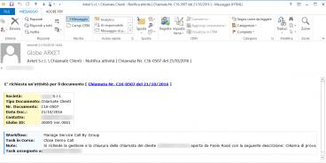Anche il team di assistenza riceve una mail con un link al documento che contiene tutte le indicazioni della segnalazione appena ricevuta