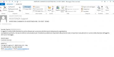 Il cliente riceverà una mail con un codice chiamata che potrà utilizzare per segnalazioni successive alla prima