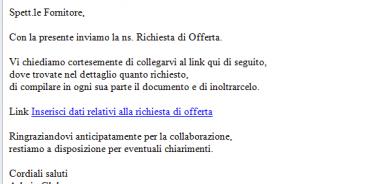 All'emmissione di una RDO viene generata ed inviata automaticamente una mail ai fornitori, con un link per collegarsi a Globe ed inserire i dati dell'offerta