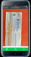 Foto dell'assegno scattata dall'app Globe